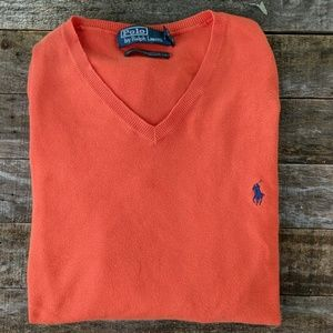 Ralph Lauren Men's orange v neck cotton Sweater XL